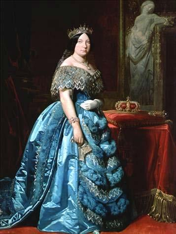 Train (Clothing) Isabella II of Spain in a blue gown with separate court train, mid-19th century.