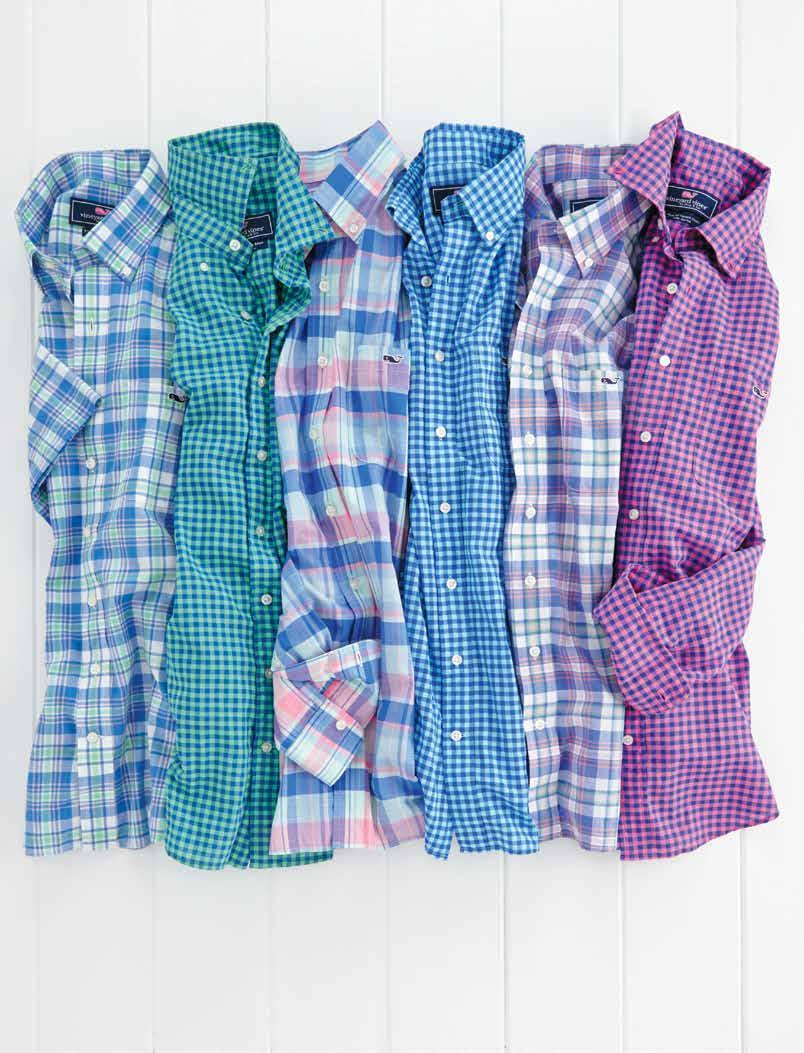 Time for a change up 1 3 1 1. Short-Sleeve Dockyard Plaid tucker shirt (1W0793): 100% cotton yarn-dyed madras. Imported. $98.50. Shown in bimini blue, indigo.