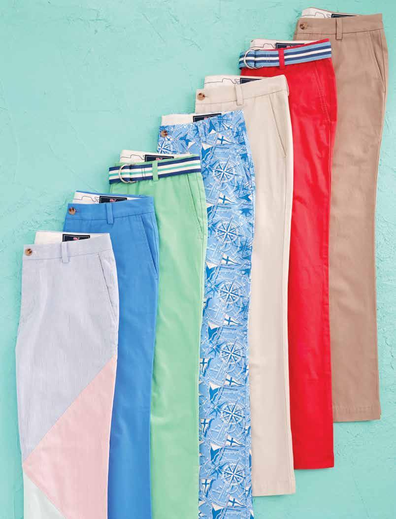 The weekly lineup 1. Pincord Burgee Classic-Fit Breaker Pants (1P0137): 100% cotton. Imported. $15. Shown in multi.