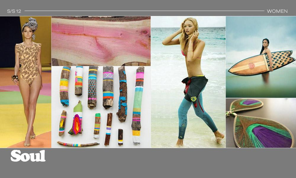 SURF - MOOD Organic patterns found in pink ivory and driftwood are injected with color for an intriguing approach to lifestyle and active apparel.