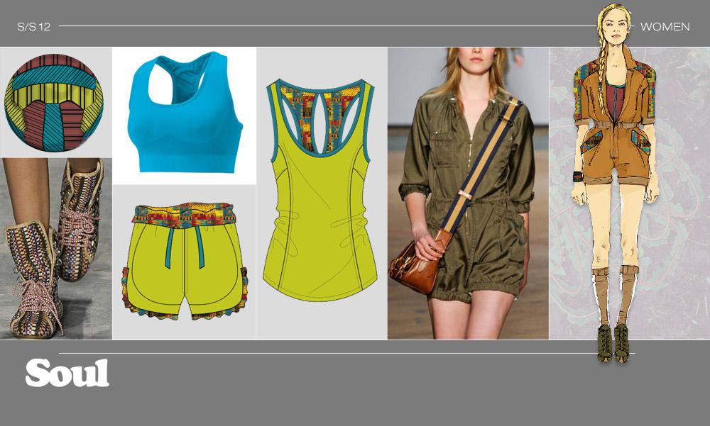 FOOTBALL - LOOK 2 Cargo jumpsuits / Printed linings for shorts / Fold-over waistbands / Ruffled hems /