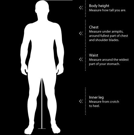 SIZE & FIT GUIDE Measuring Guide 1. Find the correct sizing chart below, see model numbers for reference. 2. Measure your chest (see figure) and find your size in the appropriate chart. 3.