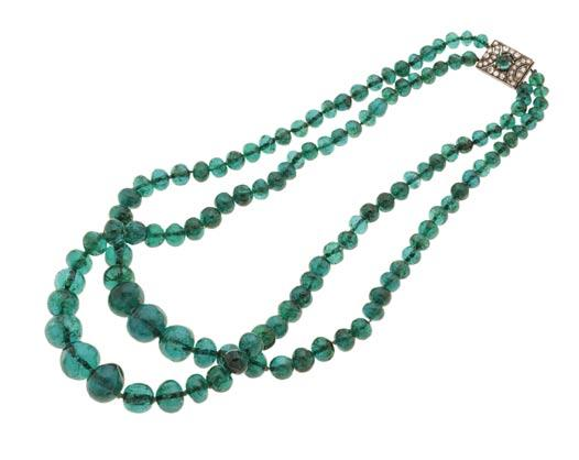 An Independent Woman: 32. Double strand emerald bead necklace c.