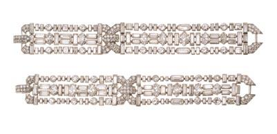 An Independent Woman: 35. Pair of diamond bracelets convertible to choker necklace Cartier, New York, no. 3410 c.