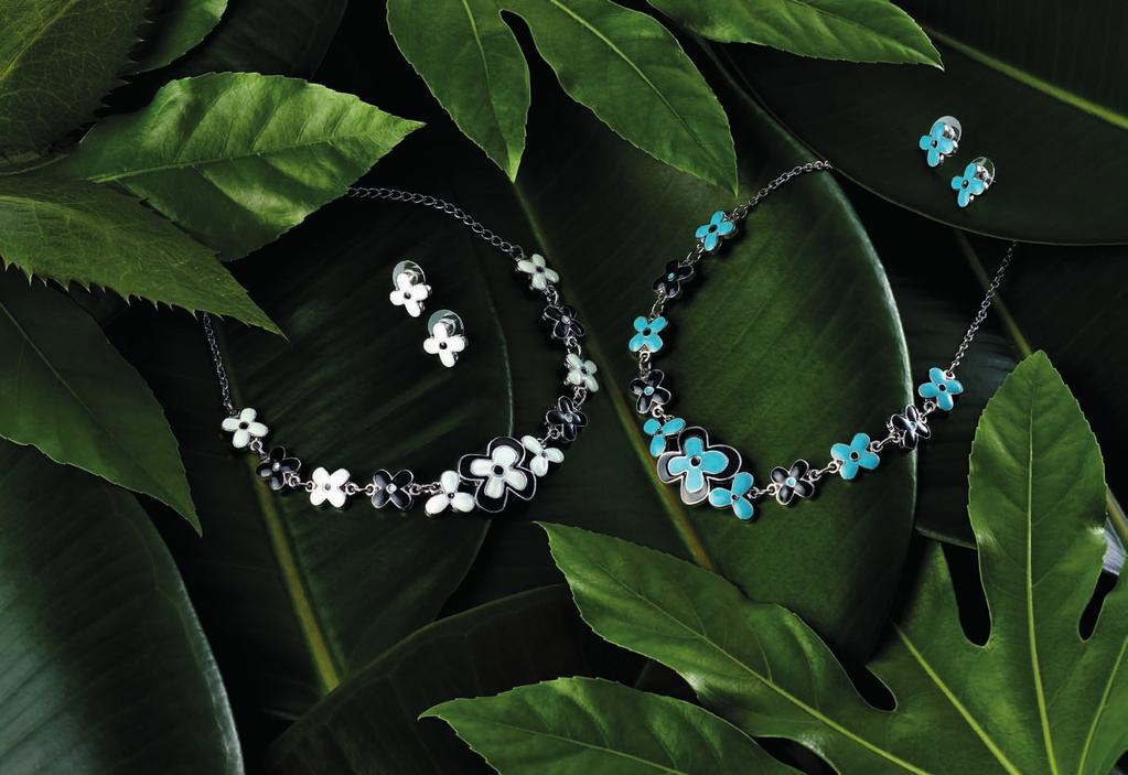 MILLEFLEURS NECKLACE CODE: 2300 39,90 Rhodium plated necklace in millefleurs design with high quality enamel flower ornaments in black and white, length: 16 ½ in (42cm) with 2 in (5cm) extension