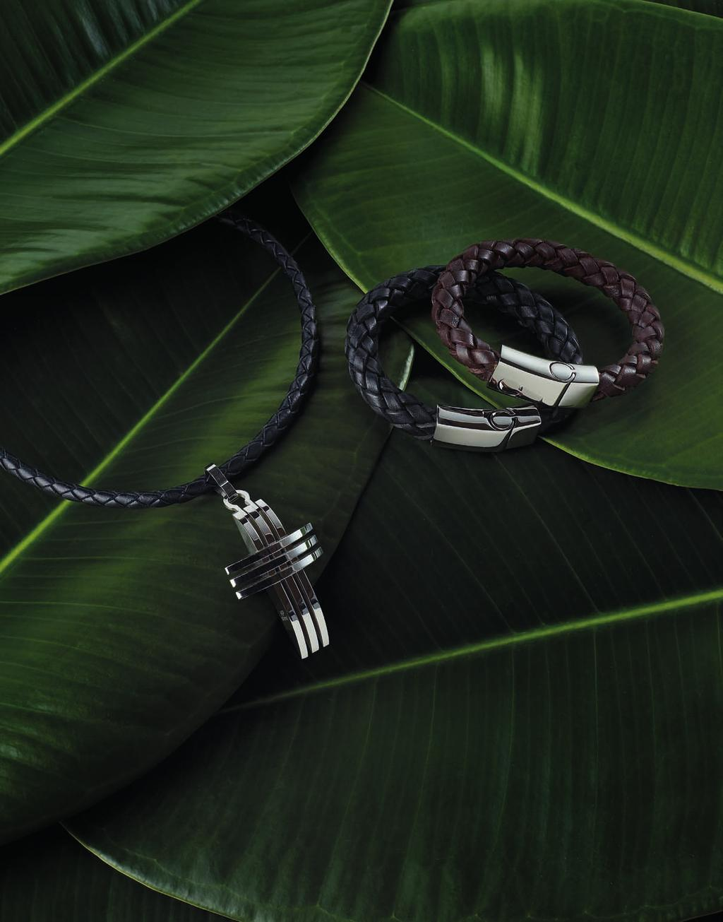 LEATHER CORD CODE: 2217-1/-2/-3/-4 43,50 Braided leather cord Ø 5mm, in your choice of black or brown color, closure made of stainless steel, black length 20 in/50cm -1 black length 22 in/55cm -2