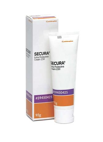 and lips. SECURA Extra Protective Cream Z30 contains 30% zinc and the addition of karaya to absorb moisture and adhere to excoriated skin.