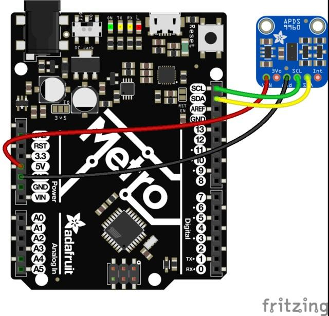 Arduino Wiring & Test You can easily wire this breakout to any microcontroller, we'll be using an Adafruit Metro (Arduino compatible) with the Arduino IDE.
