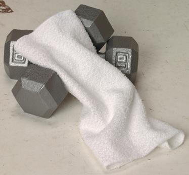 Q QB913 Terry Tri-Fold Towel with Centre Brass Grommet and Hook 18 x 22 100% cotton terry towel. Neutrals: White.