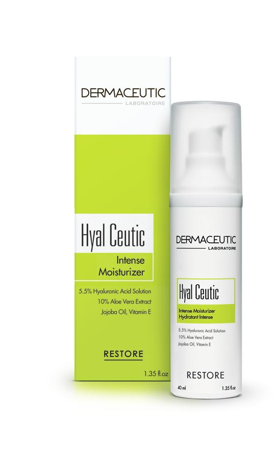 RESTORE Hyal Ceutic INTENSE MOISTURIZER Long lasting hydration Hypoallergenic - suited for sensitive skin Intense 24hr Moisturizing Cream Helps moisturize the skin after aesthetic procedures.