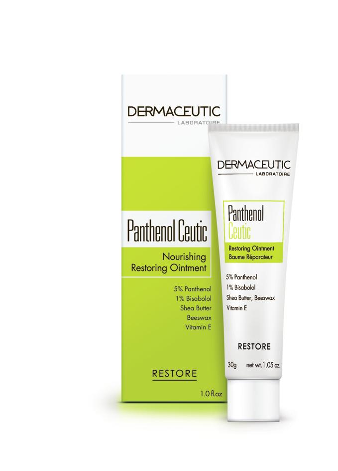 RESTORE Panthenol Ceutic NOURISHING RESTORING OINTMENT Hypoallergenic - suited for sensitive skin Nourishing Restoring Ointment Restores skin comfort following aesthetic procedures.