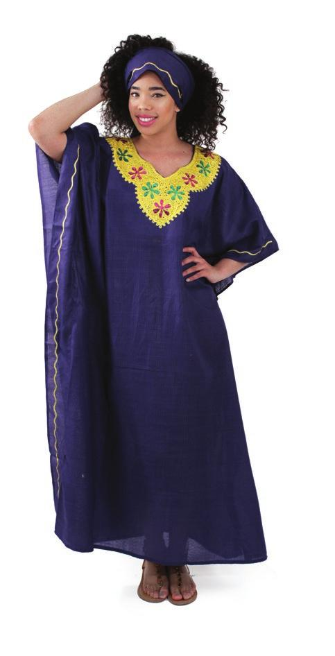 July 2015 Retail New Arrivals and Specials Light blue Red Flower Embroidered Kaftan Fits up to 68 bust.