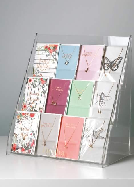 83 84 Tiered Giftcard Holder Notes This display unit is made from clear perspex and is tiered, allowing gift cards to be displayed effectively and clearly within minimal space.