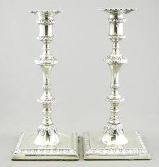 "$50 - $100 530 Lot # 508 508 509 510 511 512 Pair of silver candlesticks with wax catchers, 10 3/4"". $400 - $600 Sterling salt and pepper. Lot of silver and other napkin rings."