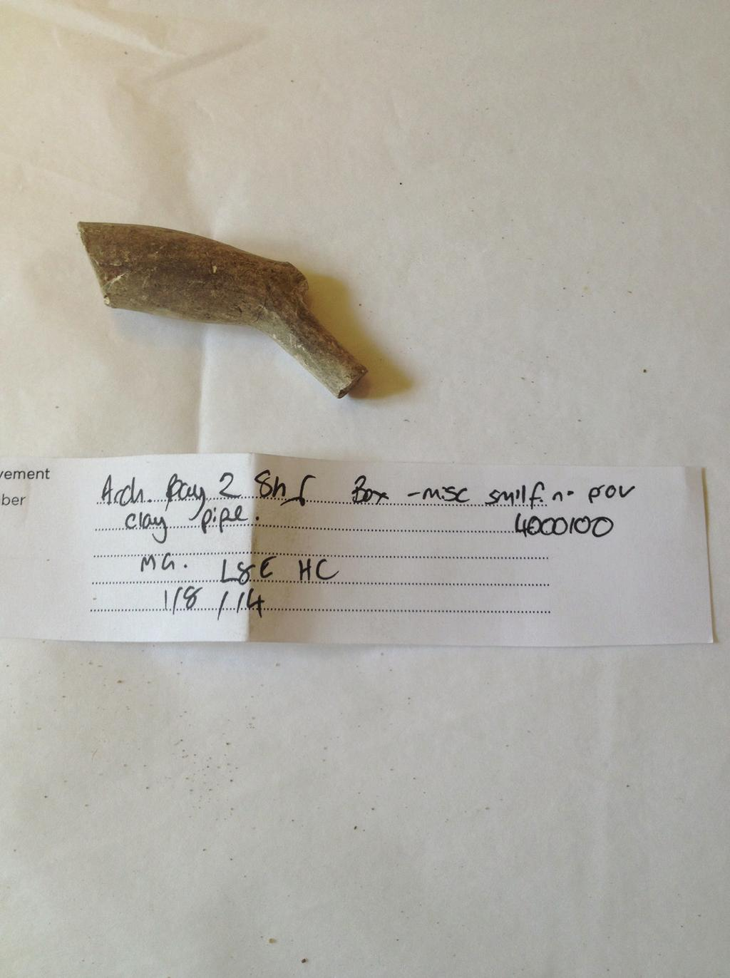 Clay pipe Date: 1680-1710 Found: Hampton Court This is a clay pipe, used for smoking tobacco more than 300 years ago.