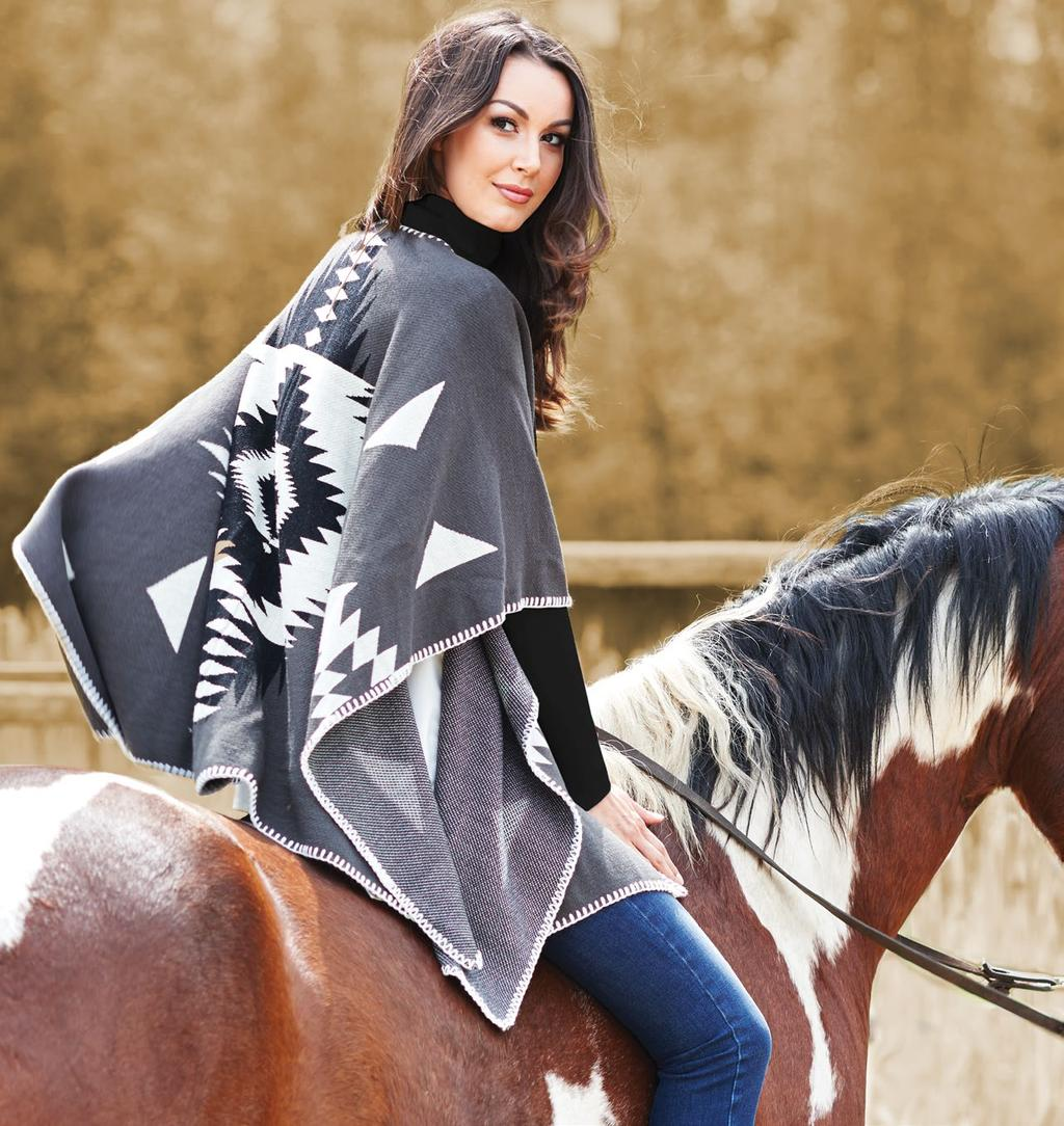 MUST HAVE Blanket Cape / $89 B 021 91007 Mock Neck Tunic / $59