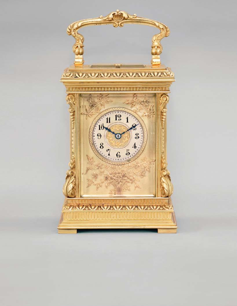 660 France, a highly ornamental and well executed hour repeating carriage clock, the gilt, Anglaise Riche variant case with stepped base below a fluted band and egg and dart molded surface canted