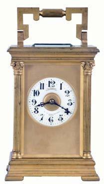 663 666 668 670 661 662 667 669 671 661 France, for Joseph Hartmann, Berlin, a giant carriage clock, gilt Anglaise Riche variant case with beveled glasses, Arabic numeral white enamel dial with gilt