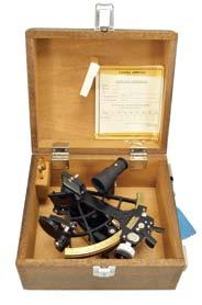 signed arc with Plath Sun Seeker logo and graduated from -5 to 125, micrometer drum adjustment two index shades for horizon and index mirrors, 4x40 Galilean telescope, high-impact plastic handle, all