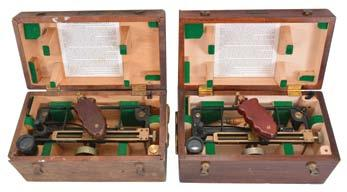 25in x 12in x 12in 24 Additional Information and Photos Available at ROSCHMITT.COM 700 701 Instruments- 2 (Two) Brass Binnacles: John E. Hand, Philadelphia, gimbal-mounted 6.