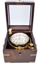 balance spring, Roman numeral silvered dial with wind indicator and gold spade and poker hands, contained in a gimballed, lacquered brass bowl, all in a three tier mahogany box with brass furniture,