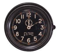 Maritime Commission, deck or engine room clock, 8 day, time only, spring-driven balance wheel movement in a brass case with screw-on bezel, 8.
