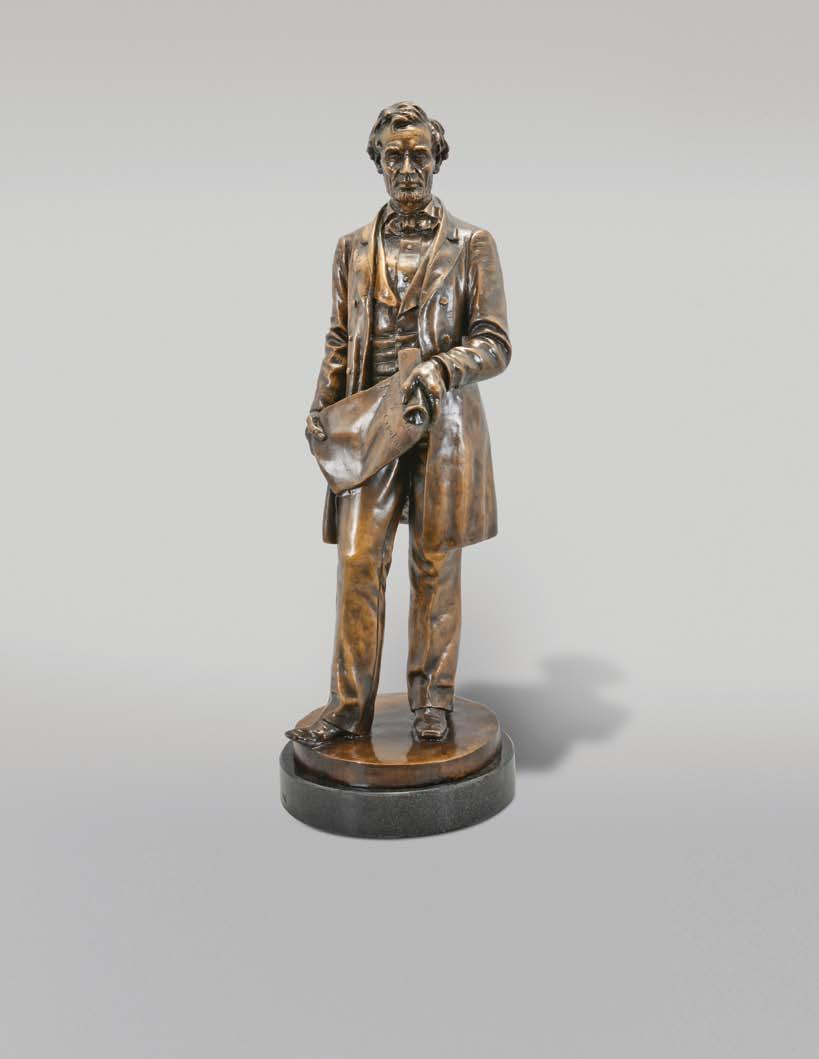 Antiques 599 601 600 599 Leonard Wells Volk, a bronze statue of a standing Abraham Lincoln, holding the Emancipation