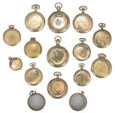 chains included, three fobs with enamel, 4-13, 19th and 20th century, together with a group of key fobs and chain parts 908 Watch chains- 17 (Seventeen), gold filled, silver, and