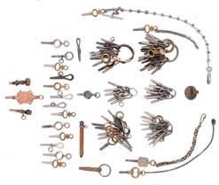 911* Watch keys, approximately 85, including two with faceted stones, one polished steel, and another with stamped lyre form ornament, 19th- early 20th century $150-$250 912 Five Hamilton