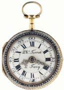 985 Terrot & Fazy, a Geneve, verge fusee pocket watch with enameled multi color gold case for the English market, key wind and set, gilt full plate movement with pierced and engraved balance cock and