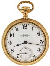 turned and engraved open face case, arabic numeral, single sunk white enamel dial, blued steel spade hands, serial #644224, c1910. $800-$1200 1028 Ball Watch Co.