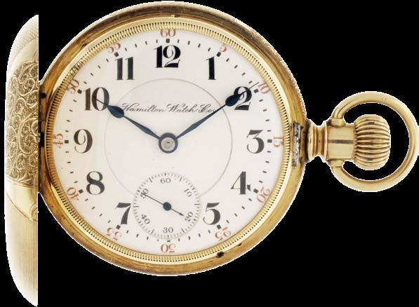 Jordan, and Arabic numeral, outer red 5-minute markers, double sunk white enamel dial, blued steel spade hands, serial #239402, 131.1g TW, c1905.
