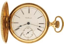 regulator, in a 14 karat, yellow gold, reeded edge, engine turned and engraved hunting case, Arabic numeral, outer red 5-minute markers, single sunk white enamel dial, blued steel Breguet style