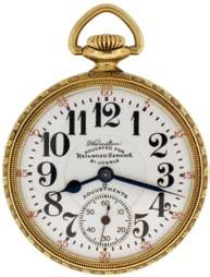 steel spade and whip hands, serial #7003793, 116.7g TW, c1900. $1000-$1300 1051 American Waltham Watch Co., Waltham, Mass.