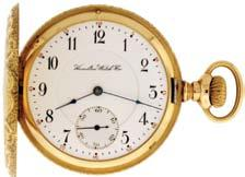 regulator in a 14 karat yellow gold, hinged back and bezel open face case with presentation on gold cuvette, and monogram on rear cover, Arabic numeral, outer red 5-minute markers, double sunk white