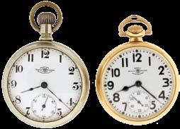 nickel movement, Montgomery Arabic numeral white enamel dial, gold filled open face case, serial #4780442, the other an Illinois Santa Fe Special, 16 size, 21 jewel damascened nickel movement, Arabic