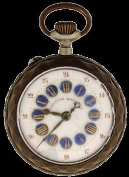 Hara style multicolor enamel dial, gold filled hunting case, serial #10390215 $400-$500 1157 Pocket watches- 4 (Four): The first an 18 size Waltham, 9-11 jewel gilt movement, Roman numeral white