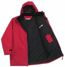 00 Parka - red Waterproof Hood stored inside the collar Zip fastener cover with press studs Sleeve adjustment by means of