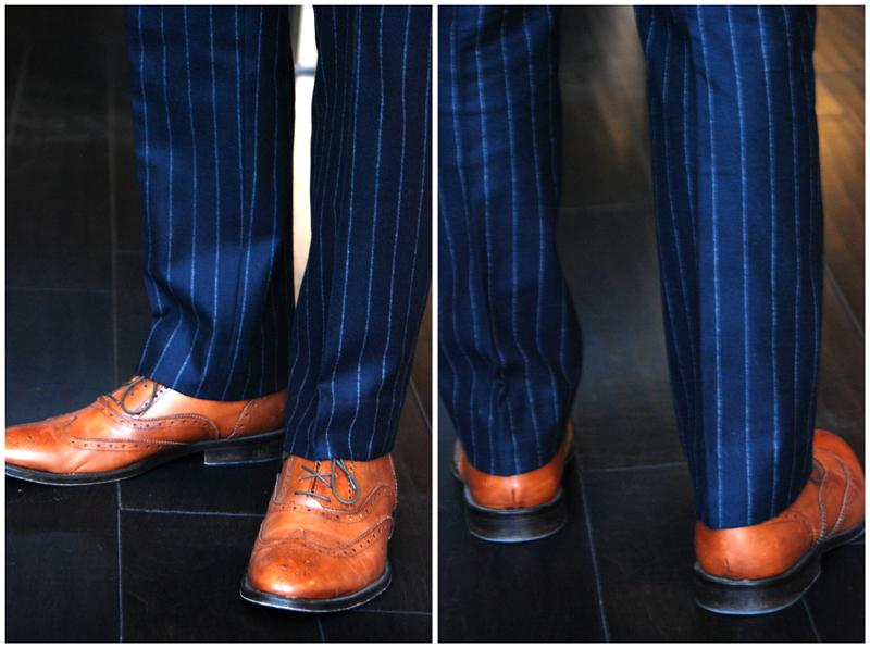 Trouser break does come down to person preference, however to always look refined we would recommend that you choose a half break as shown below.