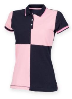 Contrast taped side vents. Twin needle hem.  Colours: Navy/White (as shown), Navy/Pink Ladies Quartered Polo Shirt 100% cotton pique.
