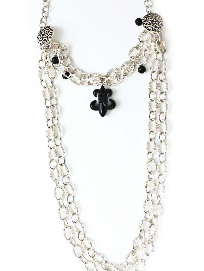 FLEUR DE LIS DUAL LAYER NECKLACE 925 Sterling silver 2 single-layered (short and long)
