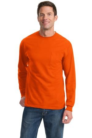 Points Style # PC61LSP Port & Company - Long Sleeve Essential T-Shirt with Pocket - Including embroidered logo on Right Chest
