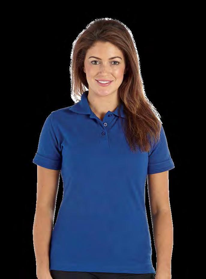 RK18 Ladies Pique Polo Shirt Weight 240gsm 50% Cotton / 50% Polyester Three button placket with self coloured buttons and sewn-in spare Two self colour rod design on collar and cuffs Twin needle