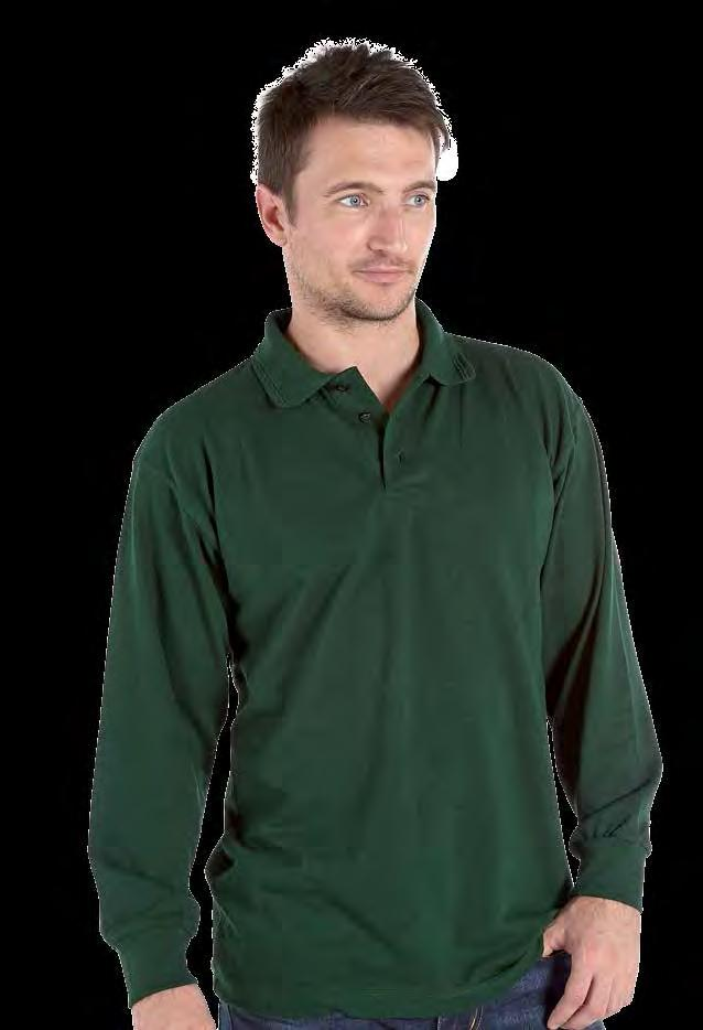 RK14 Deluxe Heavy long Sleeve Pique Polo Shirt Weight 240gsm 50% Polyester / 50% Cotton Three button placket with self coloured buttons Twin needle stitch armholes, hem and sleeve, taped neckline and