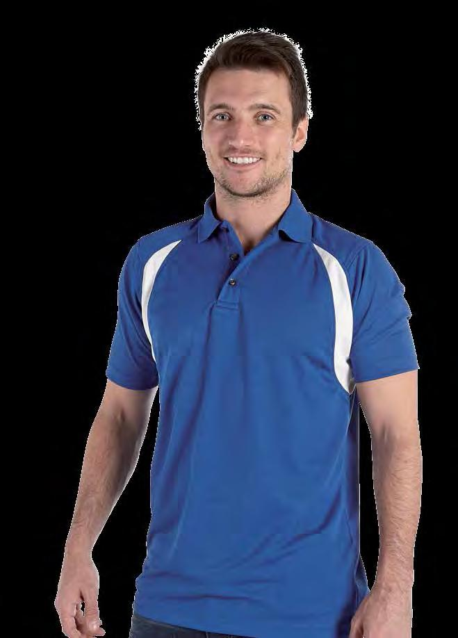 RK180 Deluxe Contrast Wicking Polo Shirt / / Red/ Royal/ Weight 170gsm 100% Polyester Twin needle stitching throughout Taped neck and shoulders Three button placket Quick dry and moisture wicking