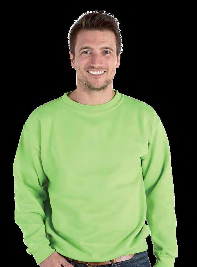 RK20 Deluxe Heavy Sweatshirt Weight 340gsm 65% Cotton / 35% Polyester Twin needle stitching throughout Shoulder to shoulder taping Half moon yoke Rib at neck, cuffs and hem Generous cut 6XL and 7XL &