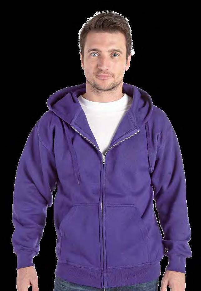 RK27 Hooded Full Zip Sweatshirt Weight 340gsm 50% Cotton / 50% Polyester Drop shoulder style Full length YKK zip n front pouch pocket Twin needle stitching Hood with double fabric and self colour