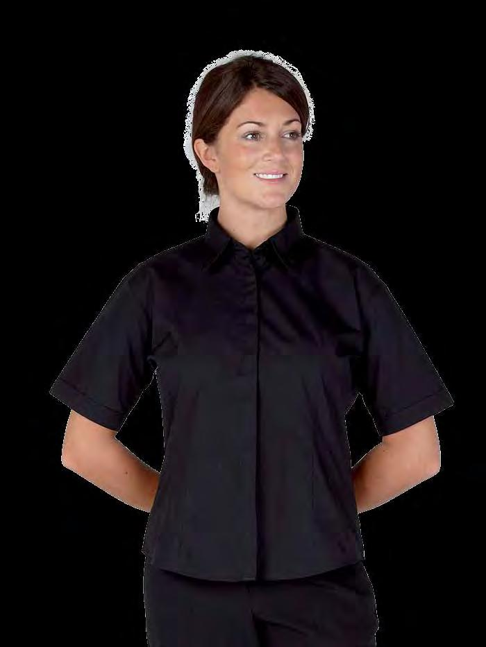 RK108 Premium Ladies Hospitality Shirt Weight 110gsm 65% Polyester / 35% Cotton Short sleeves Front and back darts Self colour buttons fitted style Spare button Stylised curved bottom