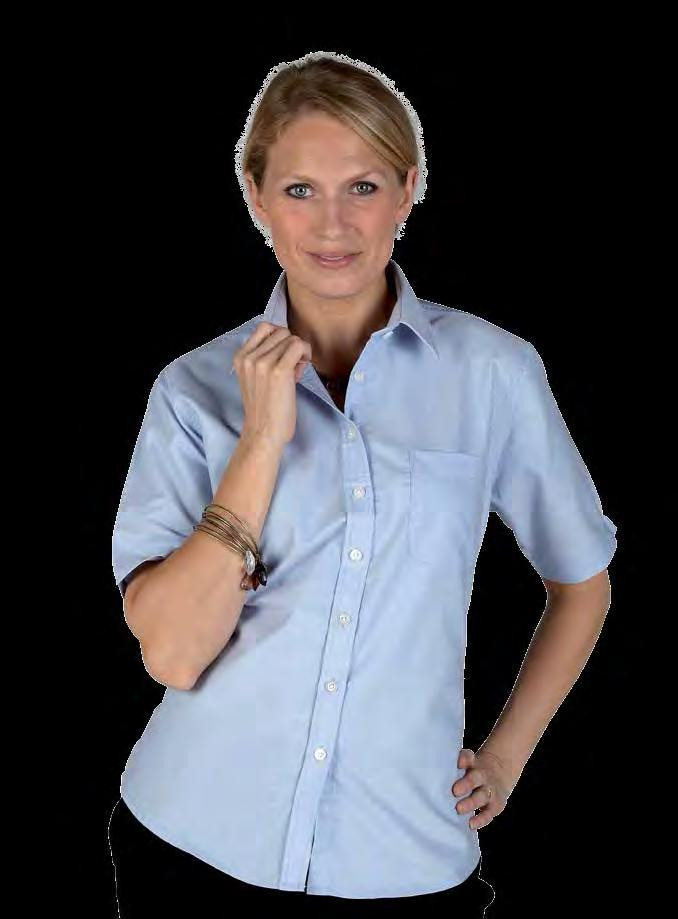 RK112 Ladies Short Sleeve Deluxe Oxford Shirt Light Blue Royal Silver Grey Weight 140/150gsm 70% Cotton / 30% Polyester Wrinkle resistant finish Left chest pocket Spare button Pearlised buttons Back