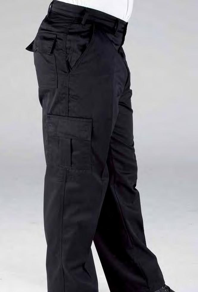 RK113 Deluxe Workwear Cargo Pants Charcoal Weight 240/260gsm 65% Polyester / 35% Cotton Concealed YKK zip fly with button over Two side pockets Two side leg velcro patch pockets Two back button up